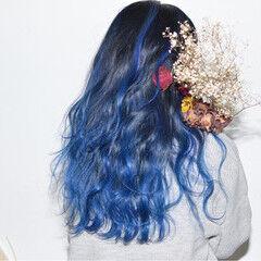 ロング パープル 外国人風 ハイライト ヘアスタイルや髪型の写真・画像