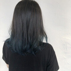 ブリーチオンカラー 裾カラー ナチュラル セミロング ヘアスタイルや髪型の写真・画像