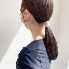 簡単ヘアアレンジ オリーブブラウン ナチュラル イルミナカラー ヘアスタイルや髪型の写真・画像