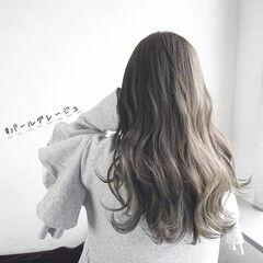 圧倒的透明感 ロング 透明感カラー グレージュ ヘアスタイルや髪型の写真・画像