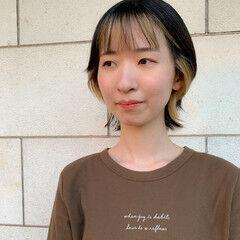ショートボブ インナーカラー ショート 小顔ヘア ヘアスタイルや髪型の写真・画像