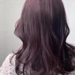 ナチュラル オフィス ミディアム 暗髪バイオレット ヘアスタイルや髪型の写真・画像