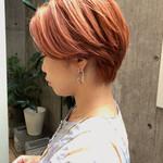 ショート オレンジベージュ ショートヘア オレンジカラー