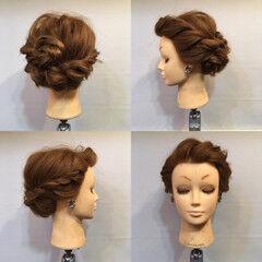 ロープ編み セルフヘアアレンジ 編み込み 結婚式 ヘアスタイルや髪型の写真・画像