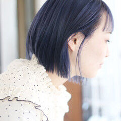 ボブ ストリート ネイビーブルー ラベンダーピンク ヘアスタイルや髪型の写真・画像