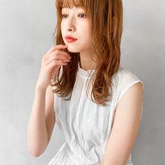 韓国 大人かわいい セミロング オレンジベージュ ヘアスタイルや髪型の写真・画像