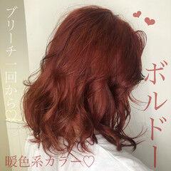 ガーリー ミディアム チェリーレッド レッドブラウン ヘアスタイルや髪型の写真・画像