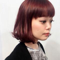 冬 ボブ パープル ベリーピンク ヘアスタイルや髪型の写真・画像