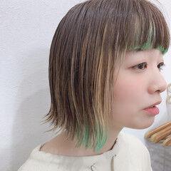 ウェット感 ボブ ナチュラル ブリーチカラー ヘアスタイルや髪型の写真・画像