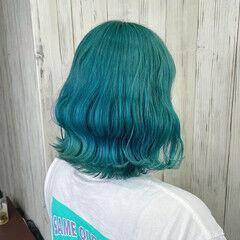 韓国ヘア 個性的 エレガント エメラルドグリーンカラー ヘアスタイルや髪型の写真・画像