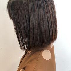 3Dハイライト ミニボブ ブラウンベージュ ボブ ヘアスタイルや髪型の写真・画像