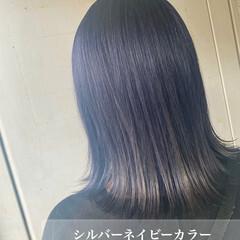 ネイビーカラー ミディアム 韓国ヘア ネイビー ヘアスタイルや髪型の写真・画像