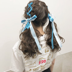 ガーリー リボンアレンジ ポニーテール ロング ヘアスタイルや髪型の写真・画像