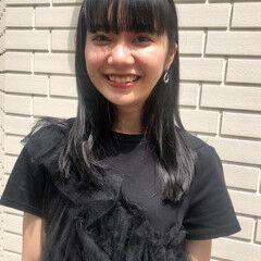 モード ワイドバング ロング クールロング ヘアスタイルや髪型の写真・画像