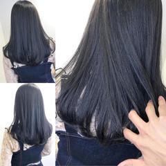 透明感カラー ダークアッシュ ネイビーブルー ナチュラル ヘアスタイルや髪型の写真・画像