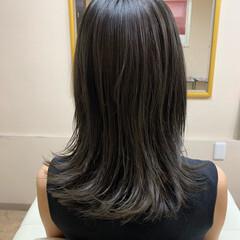 ナチュラル ダークトーン 暗髪 セミロング ヘアスタイルや髪型の写真・画像