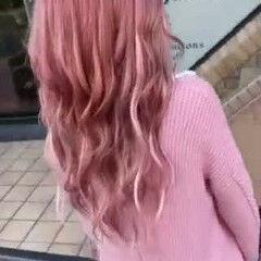 エクステ ピンクヘア ガーリー ボブ ヘアスタイルや髪型の写真・画像