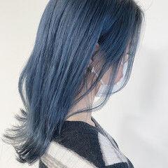 モード ブルーアッシュ ブリーチ必須 ブリーチオンカラー ヘアスタイルや髪型の写真・画像