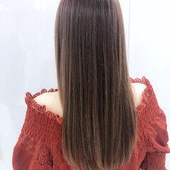 ロング 縮毛矯正 シアーベージュ ナチュラル ヘアスタイルや髪型の写真・画像
