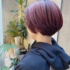 ショート カシスレッド 最新トリートメント ショートボブ ヘアスタイルや髪型の写真・画像