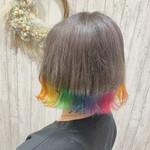 レインボーカラー 裾カラー ガーリー 派手髪