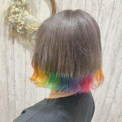 レインボーカラー 裾カラー ガーリー 派手髪 ヘアスタイルや髪型の写真・画像