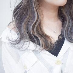 バレイヤージュ ホワイトカラー ハイライト ホワイトハイライト ヘアスタイルや髪型の写真・画像