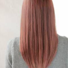 ベージュ セミロング パステルカラー ピンク ヘアスタイルや髪型の写真・画像