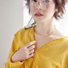 ミルクティー 編み込み ベレー帽 ショート ヘアスタイルや髪型の写真・画像