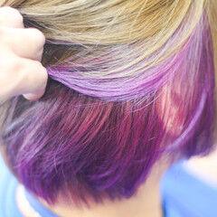 モード ショートヘア ボブ インナーカラー ヘアスタイルや髪型の写真・画像