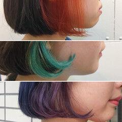 ストリート ダブルカラー ストレート ボブ ヘアスタイルや髪型の写真・画像
