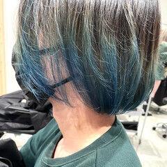 ブルーグラデーション ネイビーブルー ボブ モード ヘアスタイルや髪型の写真・画像