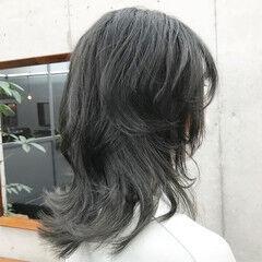 モード レイヤーカット ウルフレイヤー ミディアム ヘアスタイルや髪型の写真・画像