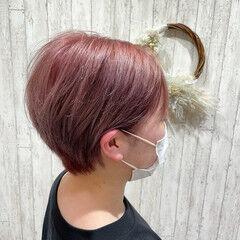 ベリーショート ショート カシスカラー ピンクカラー ヘアスタイルや髪型の写真・画像