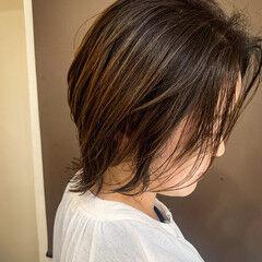 アンニュイ ミディアム 外ハネ ナチュラル ヘアスタイルや髪型の写真・画像