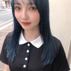 韓国ヘア シースルーバング ネイビー セミロング ヘアスタイルや髪型の写真・画像