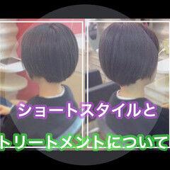 髪質改善カラー 髪質改善 ショートヘア ナチュラル ヘアスタイルや髪型の写真・画像