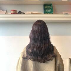 セミロング ナチュラル ラベージュ 透明感カラー ヘアスタイルや髪型の写真・画像