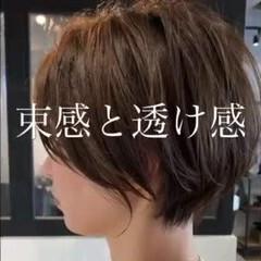 ハンサムショート ダークトーン ナチュラル ショートボブ ヘアスタイルや髪型の写真・画像