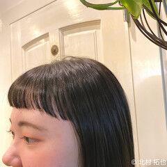 切りっぱなしボブ グレージュ オン眉 ナチュラル ヘアスタイルや髪型の写真・画像