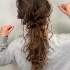 セミロング 大人女子 ヘアアレンジ 大人可愛い ヘアスタイルや髪型の写真・画像