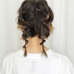 簡単ヘアアレンジ ツインテール ガーリー グラデーションカラー ヘアスタイルや髪型の写真・画像