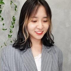 前髪インナーカラー ストリート 韓国ヘア インナーカラー ヘアスタイルや髪型の写真・画像
