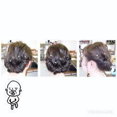 セミロング ショート ギブソンタック ヘアアレンジ ヘアスタイルや髪型の写真・画像