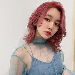 モード ピンクバイオレット ラベンダーピンク ピンク ヘアスタイルや髪型の写真・画像