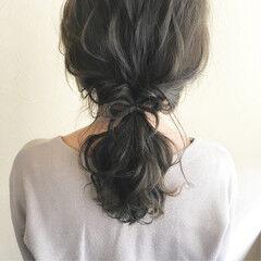ローポニー デート ロング ローポニーテール ヘアスタイルや髪型の写真・画像