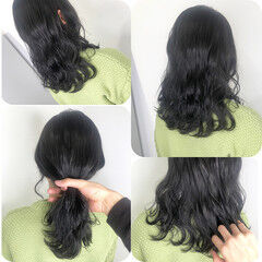 ダークアッシュ ダークカラー ブルーブラック ナチュラル ヘアスタイルや髪型の写真・画像
