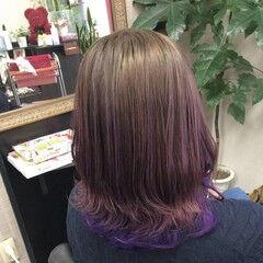 ミディアム パープル グラデーションカラー ガーリー ヘアスタイルや髪型の写真・画像