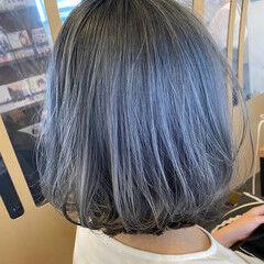 ナチュラル ブリーチオンカラー ボブ ブリーチカラー ヘアスタイルや髪型の写真・画像