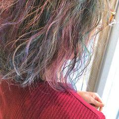 ユニコーンカラー アクセサリーカラー 外国人風カラー ハイライト ヘアスタイルや髪型の写真・画像